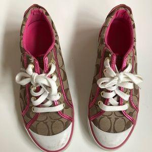 Pink metallic coach shoes